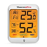 ThermoPro TP53 Hygromètre Indicateur D'humidité Intérieur Jauges de Température et D'humidité Thermomètre D'ambiance avec Rétroéclairage Thermomètre Hygromètre de Reptile avec Grand Écran