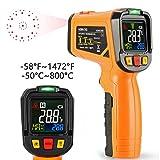 Thermomètre infrarouge Janisa Ad6530b Laser Digital sans contact IR Pistolet de température écran couleur -50 °C à 800 °C avec 12 point Fonction de Alarme de température d'ouverture